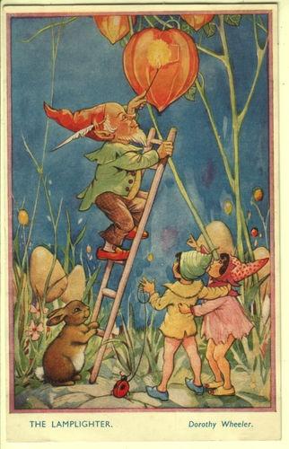 """Dorothy Wheeler - """"The Lamplighter"""" - Gnome, Rabbit/Fairy Children - Bamforth"""