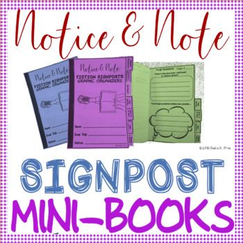 ***** CLICK ON PREVIEW FOR SAMPLES!********* Notice & Note has quickly become a teacher favorite, thanks to the super effective close reading signposts outlined in the book! This product contains 8 different MINI-BOOKS with graphic organizers