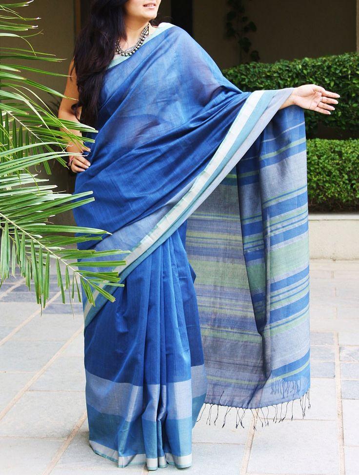 Blue & Green Organic Cotton Saree - Stripes