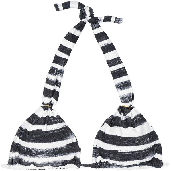 Loer Black And White Striped Halter-neck Triangle Bikini Top - Soutien... ($160) ❤ liked on Polyvore featuring swimwear, bikinis, black, triangle bikini, striped bikini, triangle bikini top, triangle bikini swimwear and black and white stripe bikini