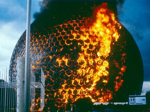 Geodesic-Dome Fire in the USA Pavilion from Expo 67