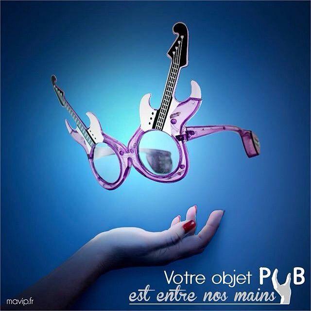 Votre objet pub est entre nos mains - Lunettes guitares pour France4. #mavip by @vincemls