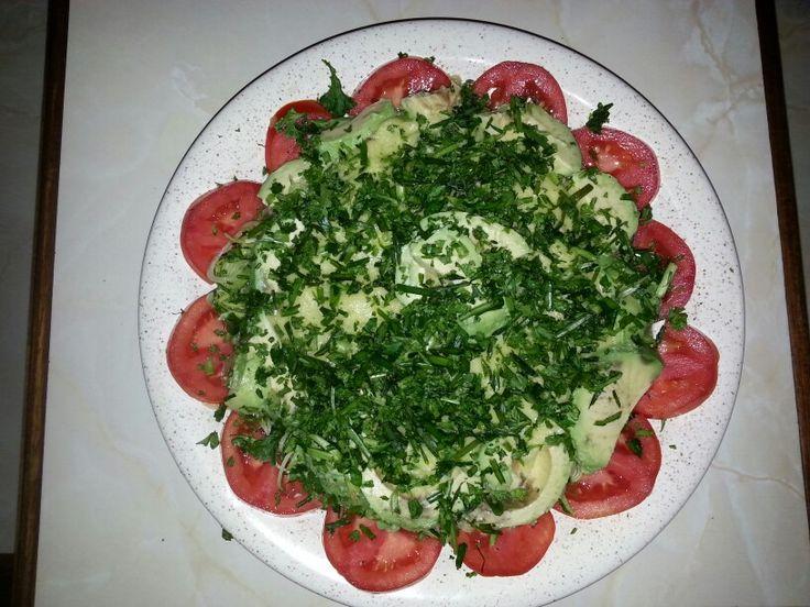 Avacado salad with pine nut cream.
