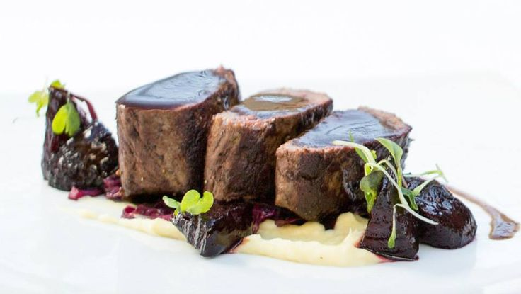 Roasted venison loin, braised red cabbage, parsnip, beetroot fondant http://tenbompas-restaurant.co.za/