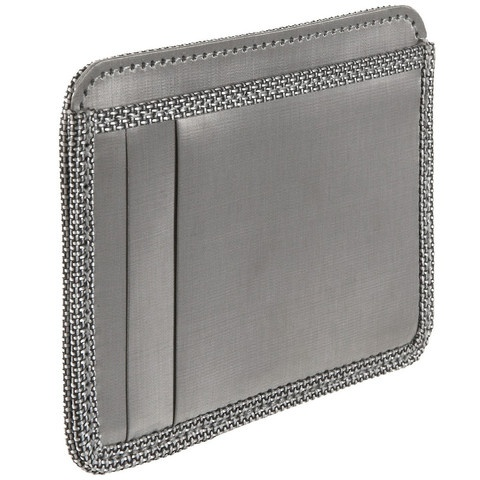 $40 #Vegan wallet: Woven Stainless Steel Cloth, Silver Ballistic Nylon