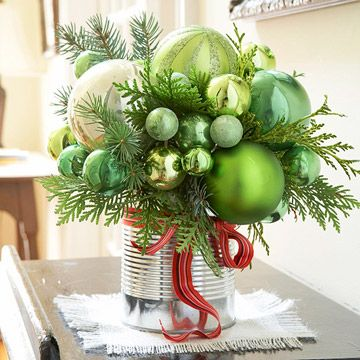 Rustic holiday decor using a tin can and red ribbon | shelterness.comHoliday, Ideas, Silver Ornaments, Christmas Centerpieces, Ornaments Bouquets, Green And Silve Ornaments, Christmas Decor, Diy Christmas Ornaments, Ornaments Display