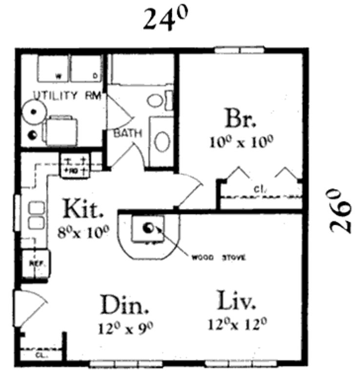 Traditional Style House Plan – 1 Beds 1 Baths 624 …