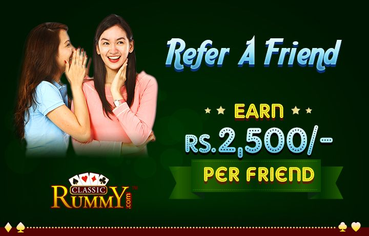 Share the Thrill of RUMMY With your Friends. Refer a friend, and earn Rs.2500 @ ClassicRummy  https://www.classicrummy.com/online-rummy-refer-and-earn?link_name=CR-12  #friend #rummy #referandearn #referafriend