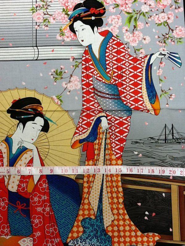Geisha Fabric Asian Kimono Japanese Geisha Panel