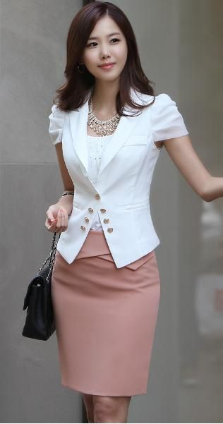 white blazer, statement necklace blush or dusty pink pencil skirt from aliexpress.com