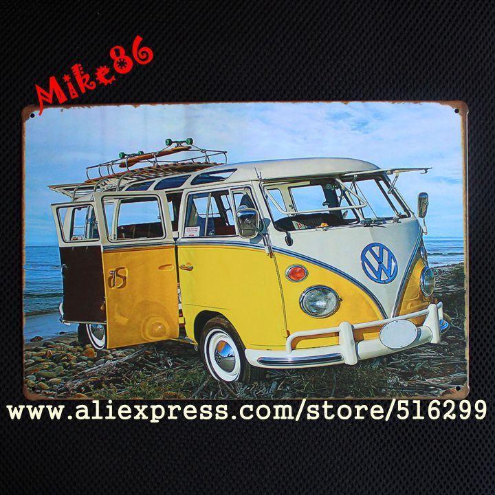 Купить [ Mike86 ] VW желтый автобус металл бар художественная роспись урожай ремесло декор AA 97 заказ смешивания 20 * 30 сми другие товары категории Металлические ремеслав магазине Mike86 Tin Signs StoreнаAliExpress. аксессуары бар декора и бар декора