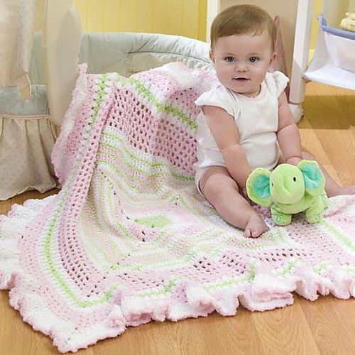 Ruffled Granny Baby Blanket. Free pattern.: Crochet Blankets, Baby Afghans, Crochet Projects, Baby Blankets Patterns, Crochet Baby, Red Heart, Baby Crochet, Crochet Patterns, Free Patterns