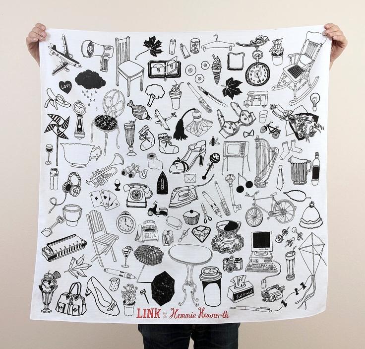 "Object Pattern Furoshiki. ""Furoshiki"" Japanese multi wrapping cloth and scarf.."