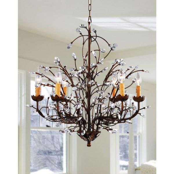 Antique Bronze 6 Light Crystal And Iron Chandelier