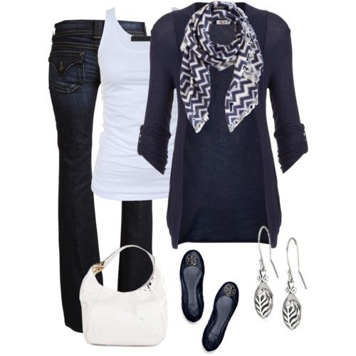 Chevron Scarf dresses the simple outfit up ...