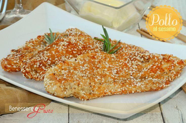 Petto di Pollo al sesamo, secondo piatto gustoso e leggero, cottura al forno, croccante panatura, ricetta facile e veloce, da personalizzare