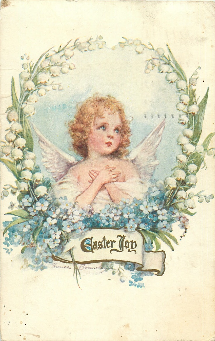 Easter greetings with forget-me-nots, lily of the valley, and a cherub