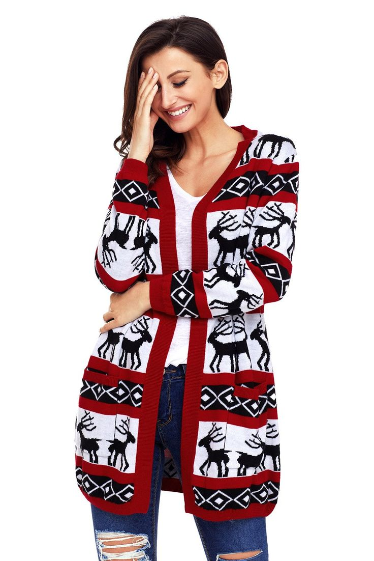 Try latest Chicloth Red Whit.... http://chicloth.com/products/chicloth-red-white-reindeer-geometric-christmas-cardigan?utm_campaign=social_autopilot&utm_source=pin&utm_medium=pin