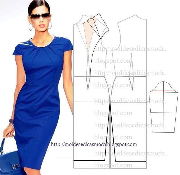 Pleated neckline sheath dress