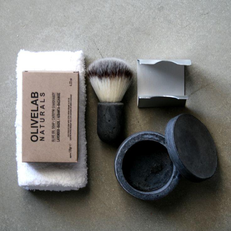 handcrafted shaving set -aluminum, concrete, antimicrobial nylon bristle