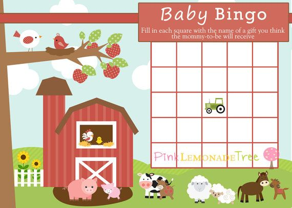 Farm Baby BINGO Farm Baby Shower Game INSTANT by PinkLemonadeTree, $1.99