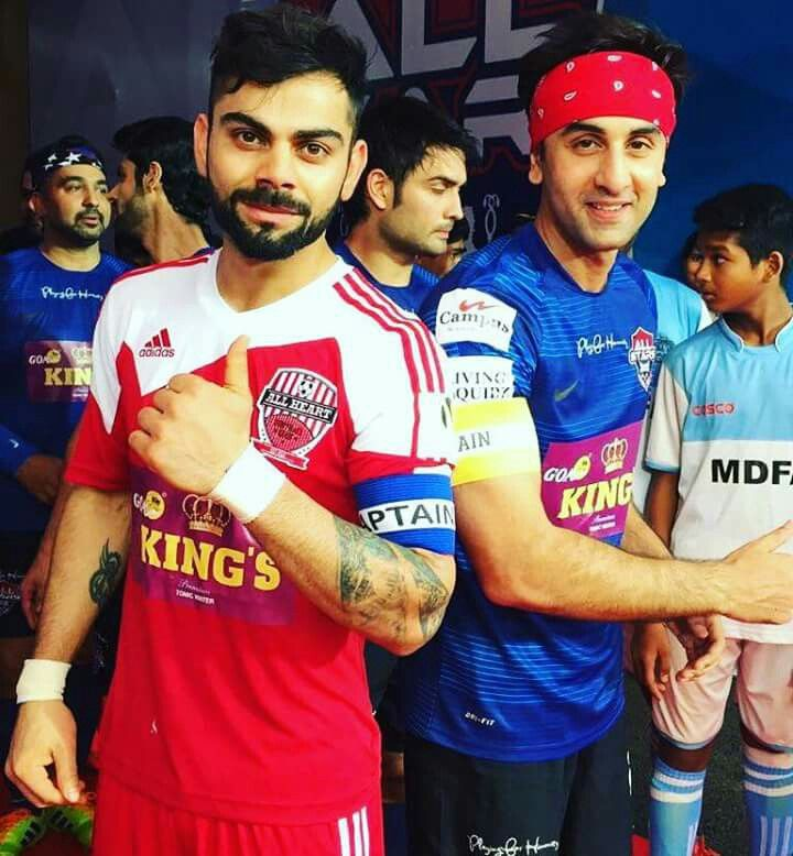 Cricketer Virat kohli and actor ranbir kapoor
