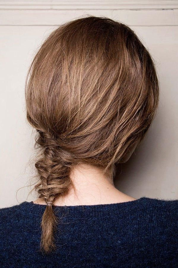 Prom hairstyles for thin hair - fishtail braid that is loosened and pulled apart to appear thicker