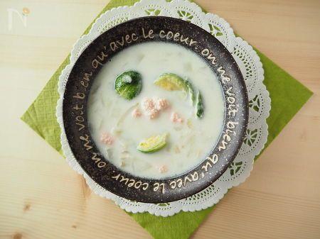 βカロテンと食物繊維豊富な芽キャベツを使った季節のスープです。芽キャベツの甘みとほろ苦さをお楽しみください☆