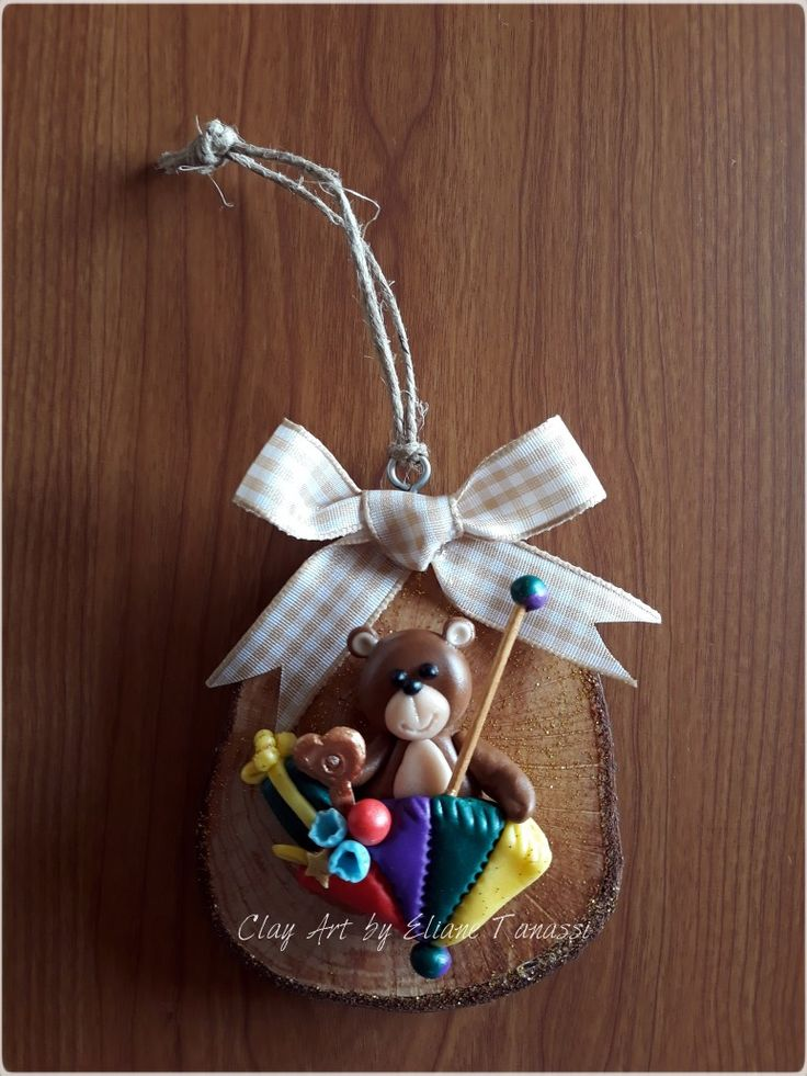 Rustic wood slice with handcrafted cold porcelain ...