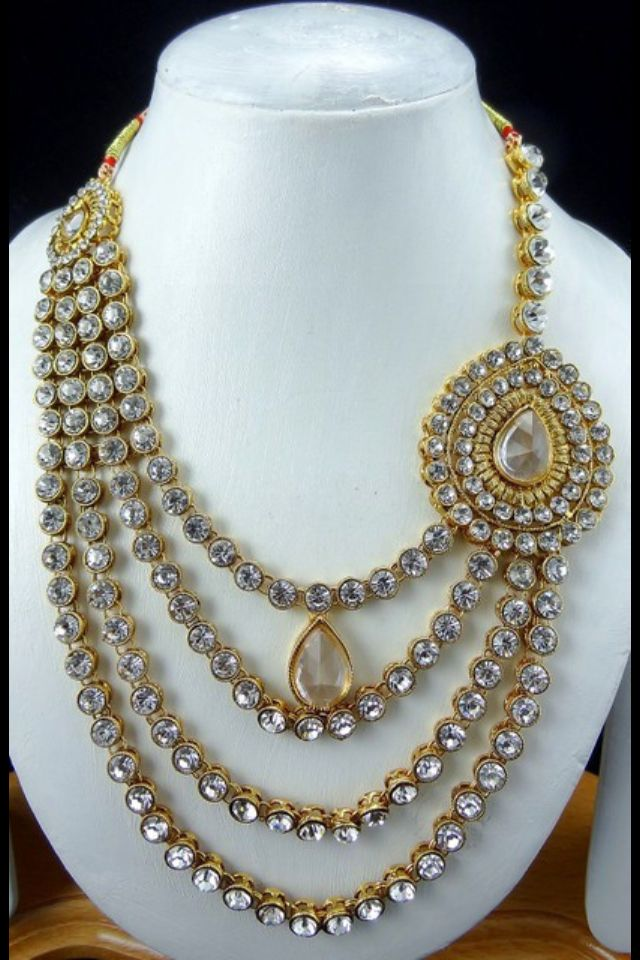 i love the idea of this necklace with a gorgeous lengha or sari that is on the simple side
