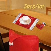 Sombrero rojo de Santa Claus Calcetines Mats Vajilla Comedor Cubierta de La Silla Del Asiento Trasero Cubierta Escudo de Navidad Cena En Casa Decoración de la Mesa