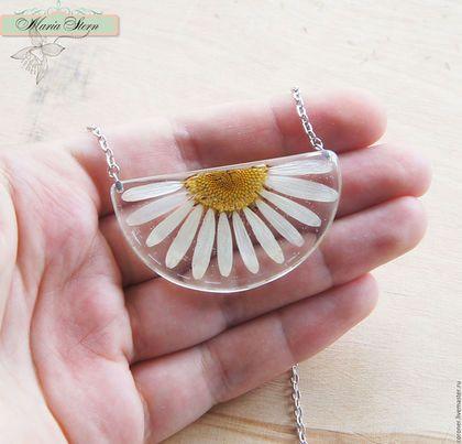 """chamomile pendant / Кулоны, подвески ручной работы. Заказать Прозрачный кулон """"Sunbeam"""" из ювелирной эпоксидной смолы. Бутик изысканных чудес Яркий Акцент. Ярмарка Мастеров."""