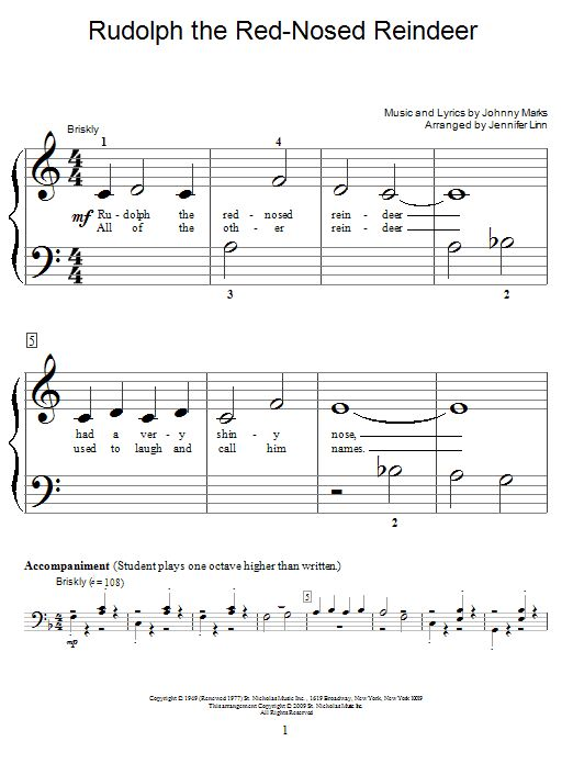 Download Educational Piano sheet music to Rudolph The Red-Nosed Reindeer by Johnny Marks and print it instantly from Sheet Music Direct.