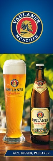 Paulaner Hefe-Weissbier a German Hefeweizen beer by Paulaner Brauerei (Schörghuber), a brewery in Munich, Bavaria