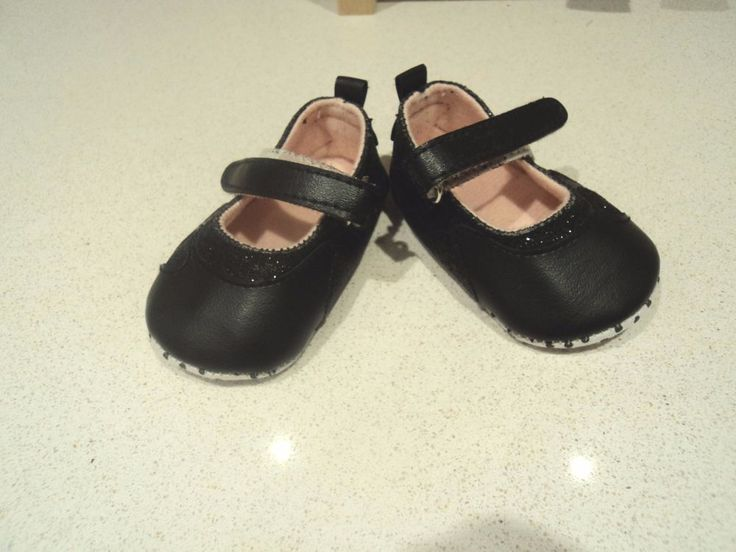 infant 0-3 months tiny baby shoes black with shimmering heart and velcro strap in Baby, Clothes, Shoes & Accessories, Shoes | eBay