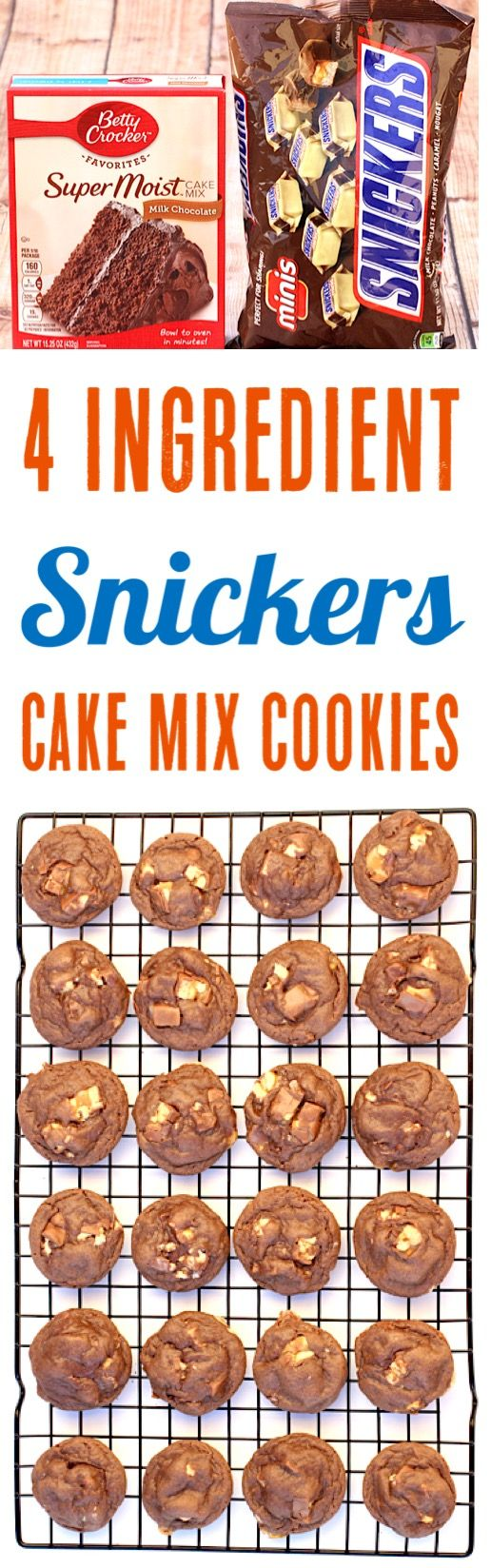 Snickers Cookies Recipes! Easy Chocolate Cake Mix Cookie Recipe using Snickers Candy Bars - Just 4 Ingredients and SO delicious!  Give them a try this week!