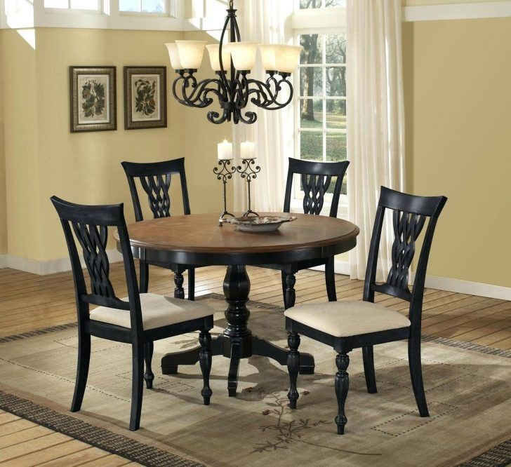 Remarkable Black Cherry Wood Round Dining Table Glass Of And