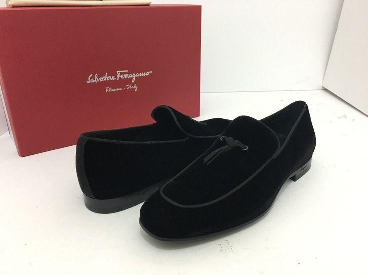 Salvatore Ferragamo Nastro Nero Black Men's Slip On Loafers Size 41.5 / 7.5 D…