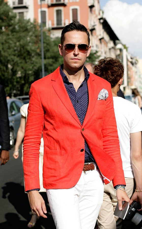 """Shop this look for $103:  http://lookastic.com/men/looks/longsleeve-shirt-and-pocket-square-and-blazer-and-belt-and-chinos/1358  """" Navy and White Polka Dot Longsleeve Shirt  """" White Paisley Pocket Square  """" Red Blazer  """" Brown Woven Belt  """" White Chinos"""