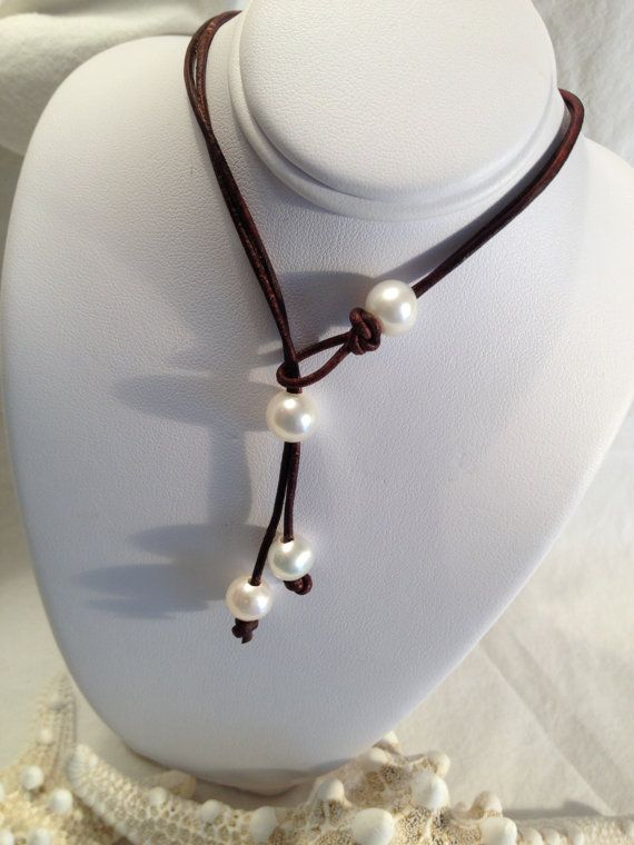 Pearl and  Leather Lariat Necklace Creamy White by JewelsbytheBay, $29.00