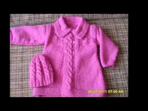 Abrigos tejidos a dos agujas para bebe - YouTube