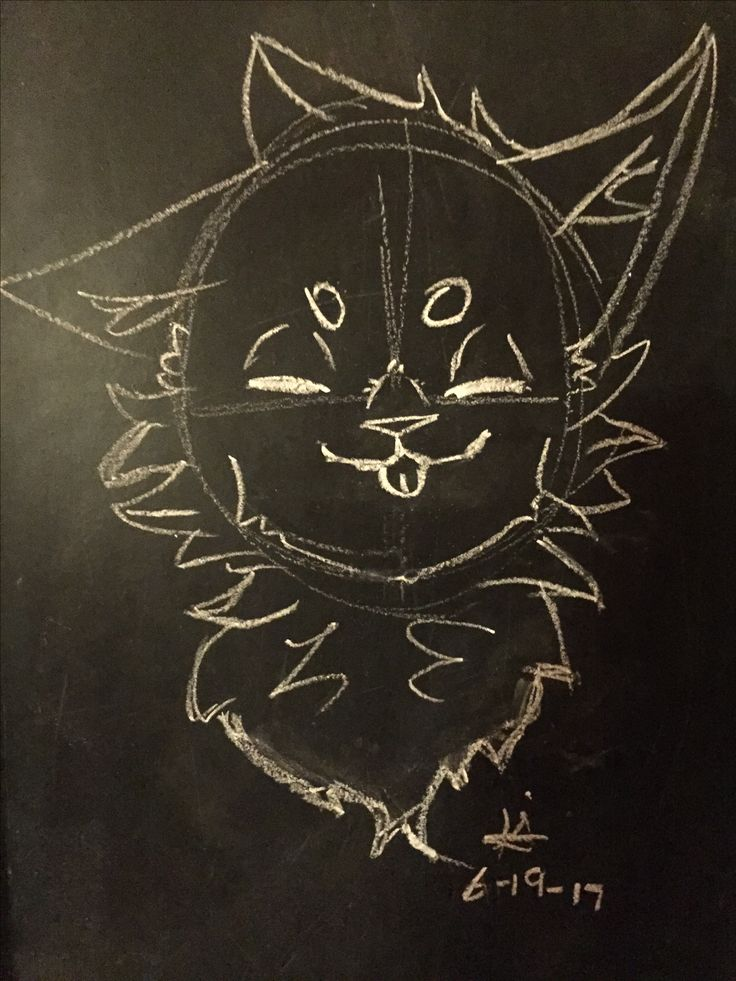 I drew a little kitty on my blackboard in my room with some regular white chalk. This makes me really calm, especially the warm light coming from my overhead light above it.