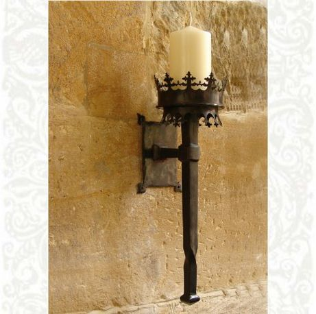 Sconce idea for the entry hall.  Likely to recreate this out of wood, at least…