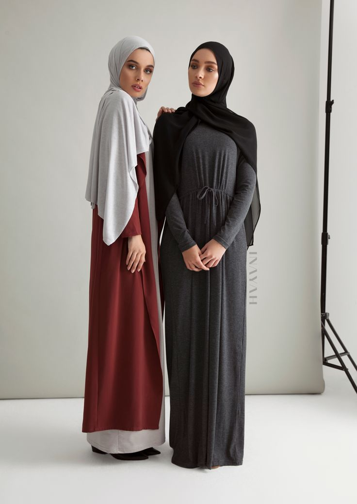 INAYAH - Rust Waterfall Coat, Feather Grey Maxi Slip Dress and Charcoal Jersey Maxi Dress with Black Soft Crepe Hijab