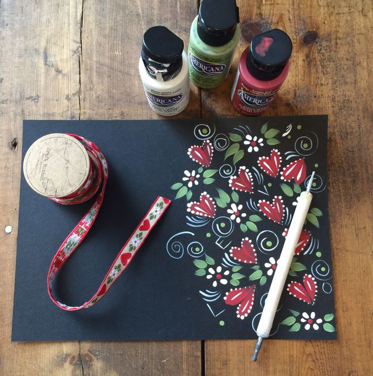 Carol took inspiration from some old ribbon she found in her office to doodle a beautiful pattern using a selection of Series one paint colours (available from www.folkit.co)