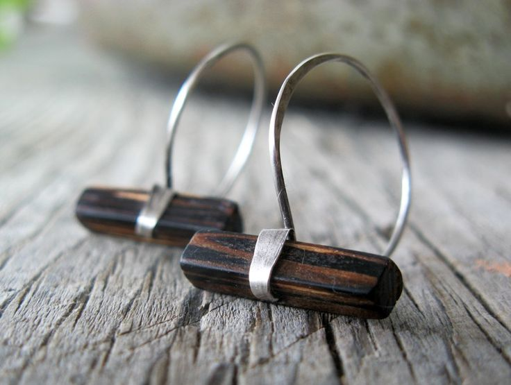 Wood and sterling silver hoop earrings by MaryAnneKarren on Etsy, $34.00