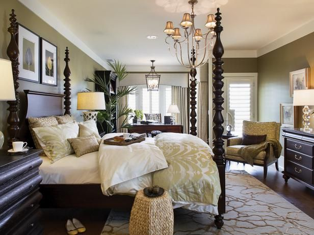 master bedroom with a four poster bed comfy bed linens and i love the wall color beautiful