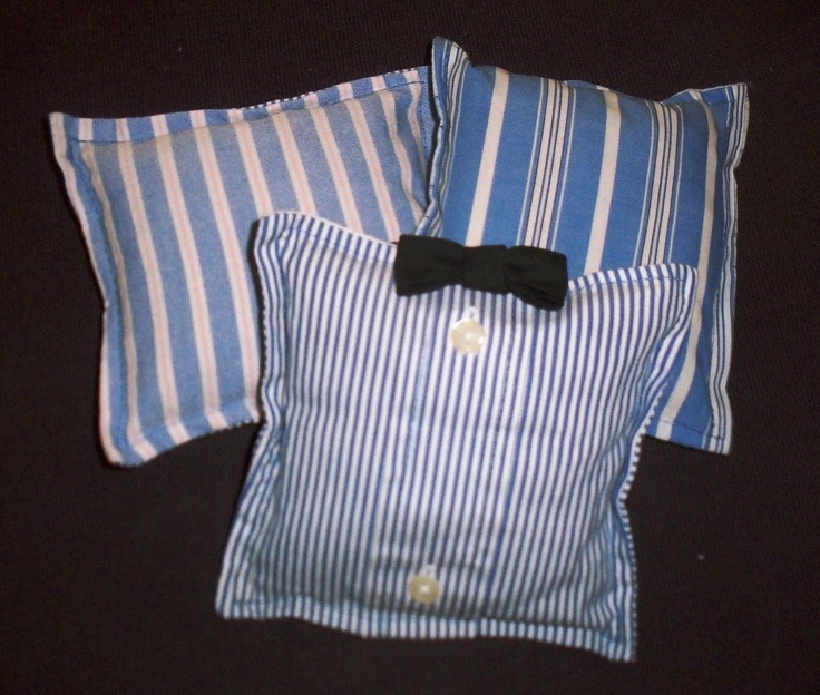 "upcycle -shirt pillows:  Cut all of the shirts apart carefully. Cut off sleeves at the shoulders. Cut up the sides of their bodies and along the yolk to the collar. I cut the collars off, leaving about 4"" on either side of the front button placket. Cut off and save those..."