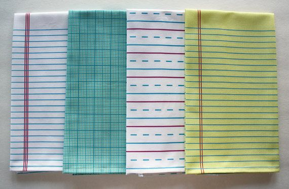 "4 ""Paper"" Towels - Decorative Cotton Tea Towels // Lined // Handwriting // Graph // Notebook"