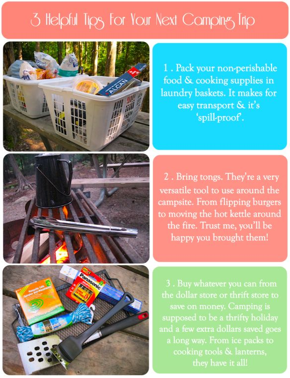 camping tips image: tongs, laundry basket storage, dollar store finds.